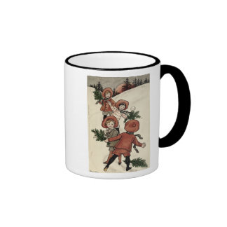 Children with Holly Throwing Snowballs Coffee Mug