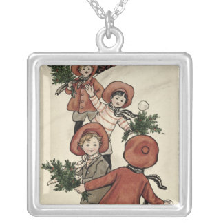 Children with Holly Throwing Snowballs Necklace