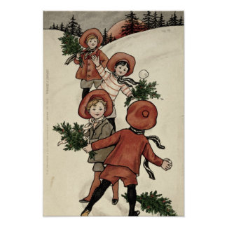 Children with Holly Throwing Snowballs Poster