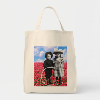 CHILDREN WITH HULA HOOP Grocery Tote Grocery Tote Bag