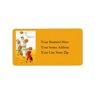 Children With Jack O Lantern Vintage Address Label