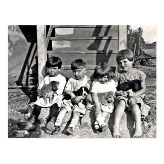 Children with Puppies Postcard