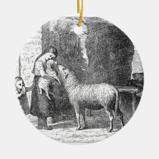 Children With Sheep Vintage Art Ceramic Ornament