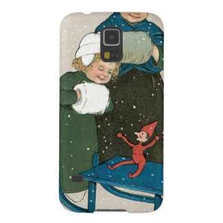 Children with Sled on Christmas in the Snow Case For Galaxy S5