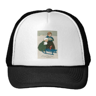 Children with Sled on Christmas in the Snow Trucker Hats