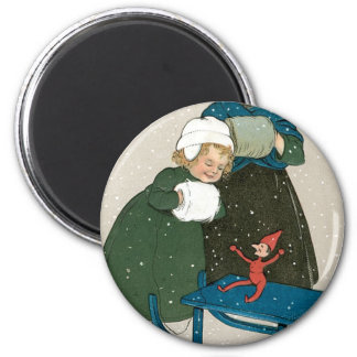 Children with Sled on Christmas in the Snow Magnet