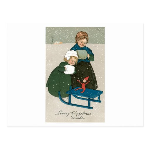 Children with Sled on Christmas in the Snow Postcard
