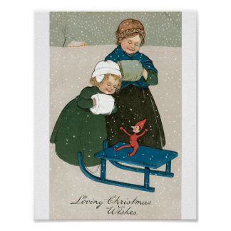 Children with Sled on Christmas in the Snow Poster