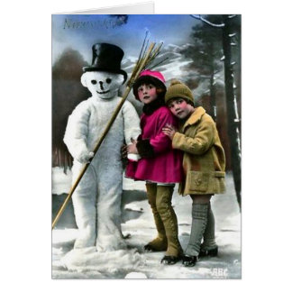 Children With Snowman Card