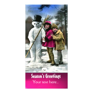 CHILDREN WITH SNOWMAN , PHOTO TEMPLATE