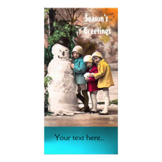 CHILDREN WITH SNOWMAN , PHOTO TEMPLATE PHOTO CARD