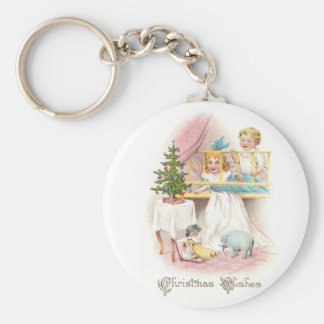 Children with Toy Elephant on Christmas Day Key Chains