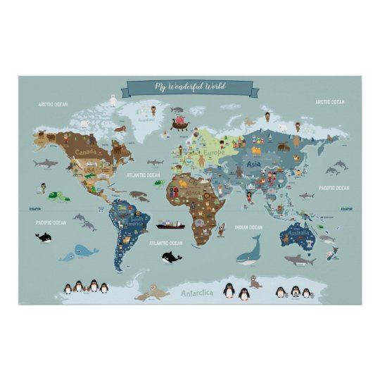 Children World Map with Cute Illustrations Poster on world atlas, world history, world records, world wallpaper, world hunger, world war, world projection, world statistics, world glode, world military, world shipping lanes, world most beautiful nature, world travel, world of warships, world border, world earth, world culture, world flag, world wide web, world globe,