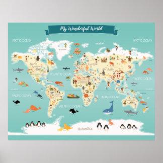 Kids World Map Posters Zazzle - Kids world map poster