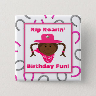 Children's African American Cowgirl Party Favor Button