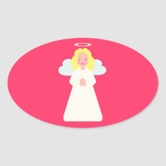 Childrens Angel with Heart Wings and Halo Oval Sticker
