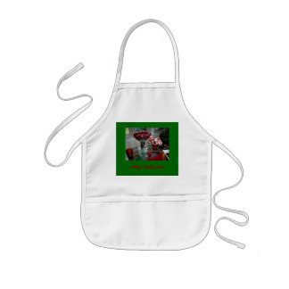 Children's apron with holiday candy canes/photo