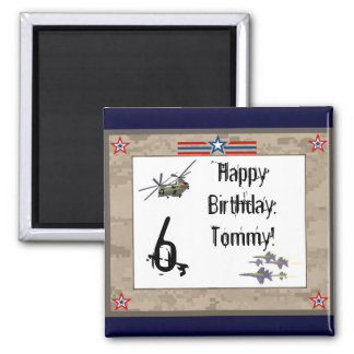 Children's Army Birthday Party 2 Inch Square Magnet