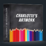 "Children's Artwork Artist Keepsake Chalkboard Binder<br><div class=""desc"">Colored pencils and chalkboard personalized art binder- Chalkboard look background. Personalized with artist's name and 'artwork' in the center. Bordered at the bottom with row of colored pencils photo in bright colors of the rainbow, including red, orange, yellow, green, blue, and purple. Spine has matching chalkboard look background and reads...</div>"