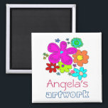 """Children&#39;s Artwork Magnet<br><div class=""""desc"""">Bright flower art children&#39;s show off magnet.  Encourage the artist in the family by adding their work to the fridge with this colorful floral magnet.</div>"""