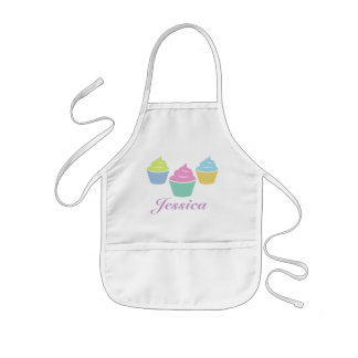 Children's baking apron with name and cupcakes