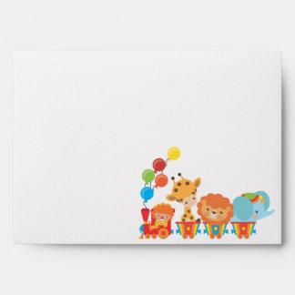 Childrens Birthday Circus Return Address Envelope