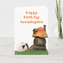 Children's  Birthday Guinea Pig Mushroom House Card