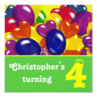 """Children's birthday party balloons """"any age"""" 5.25"""" square invitation card"""