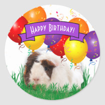 Children's Birthday Party Cute Guinea Pig Balloons Classic Round Sticker