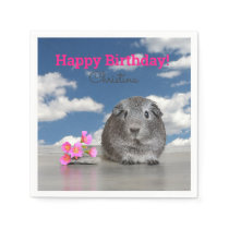 Children's Birthday Party Pink Flowers Guinea Pig Napkins
