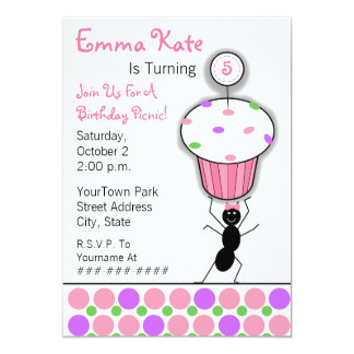 "Childrens Birthday Picnic Party - Ant & Cupcake 5"" X 7"" Invitation Card"