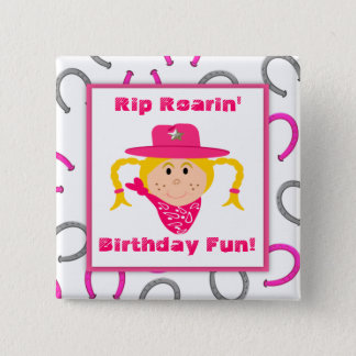 Children's Blonde Cowgirl Horseshoes Party Favor Button