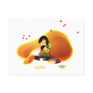 """Children's Book Fantasy Art """"When I Read"""" Small Canvas Print"""