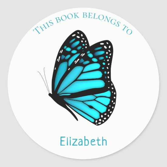 children's book stickers with turquoise Butterfly