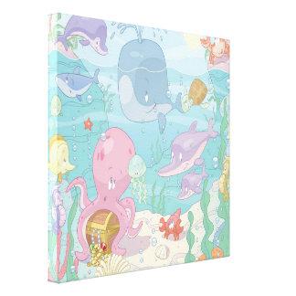 Children's Cartoon Sea Life Wrapped Canvas
