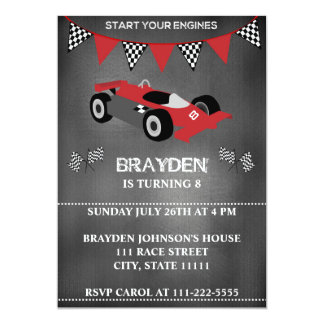Children's Chalkboard Race Car Birthday Invitation