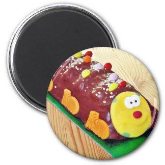 Childrens Chocolate Cake In Caterpillar Shape 2 Inch Round Magnet