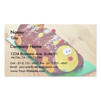 Childrens Chocolate Cake In Caterpillar Shape Business Card Templates