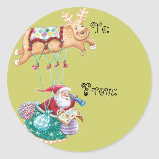 Children's Christmas Name Tags Classic Round Sticker