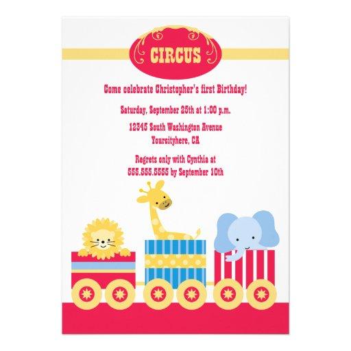 Children's circus train birthday party invitation