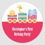 Children's circus train birthday party stickers