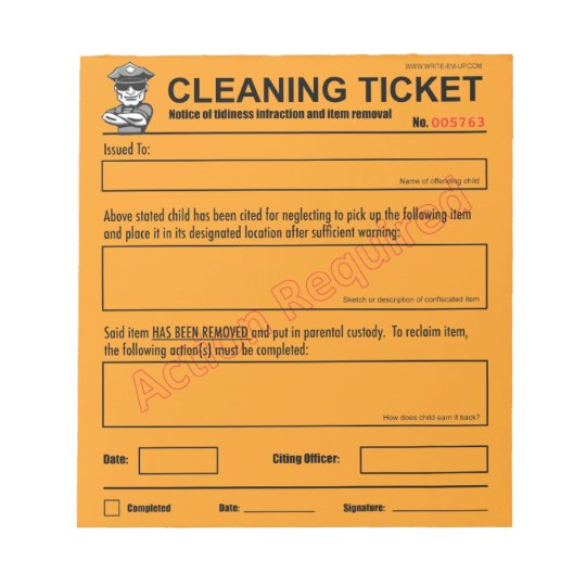 Children's Cleaning Ticket Notepad