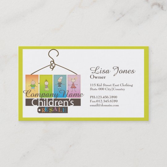 Childrens Clothing Store Business Cards Zazzle