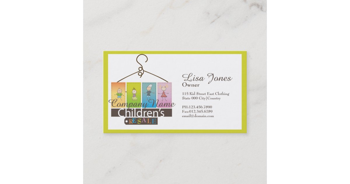 children\'s clothing store business cards | Zazzle.com