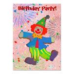 Children's Clown & Fireworks Birthday Invitation