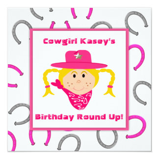 Children's Cowgirl Party Blond Girl Birthday Personalized Invitation