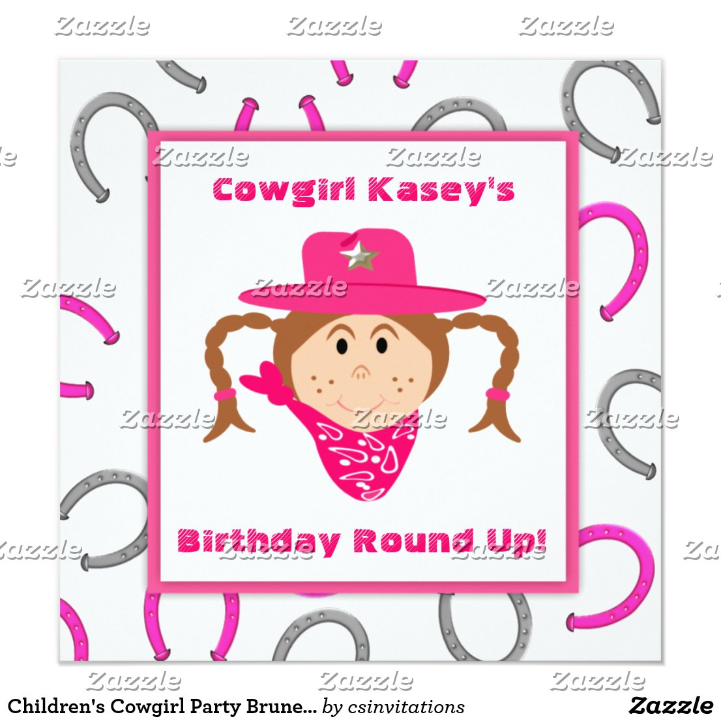 Children's Cowgirl Party Brunette Girl Birthday