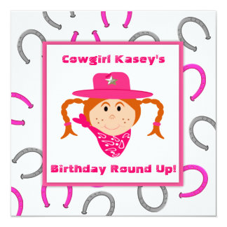 Children's Cowgirl Party Red Haired Girl Birthday Card
