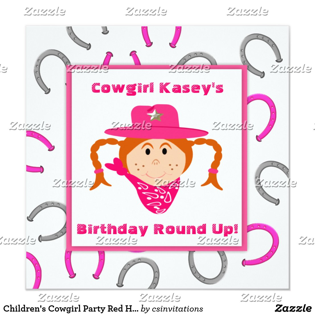 Children's Cowgirl Party Red Haired Girl Birthday