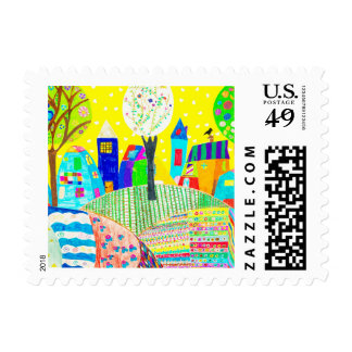 childrens drawing kids art new home postage
